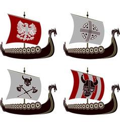 set of viking drakkars vector image