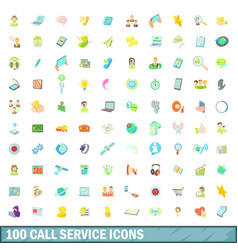 100 call service icons set cartoon style vector image