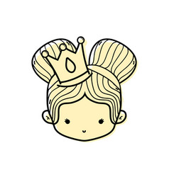 color girl head with crown and two buns hair vector image