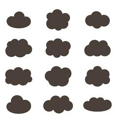 Flat design monochrome cloud icons vector image