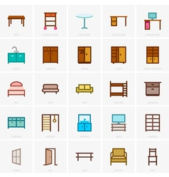 Furniture icons color version vector image vector image
