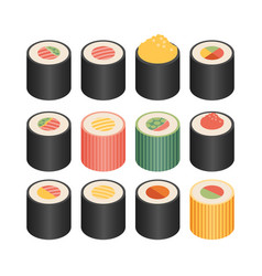 Isometric flat icons 3d pictograms set - sushi vector