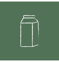 Packaged dairy product icon drawn in chalk vector image