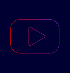 play button sign line icon with gradient vector image