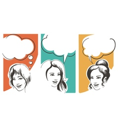 Set of Girls with Speech Bubbles vector image