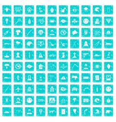 100 phobias icons set grunge blue vector