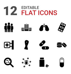 12 illness icons vector image