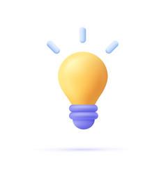 3d cartoon style minimal yellow light bulb icon vector