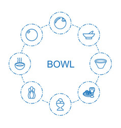 8 bowl icons vector