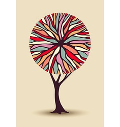 Abstract tree with colorful shape vector