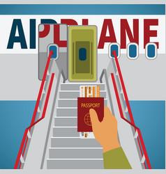 Aircraft boarding bridge concept with passport vector