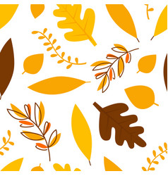 autumn leaves different trees seamless pattern vector image