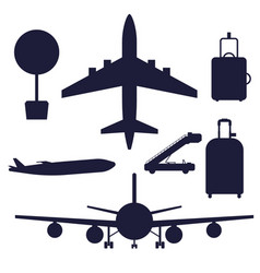 Aviation icons silhouette airline graphic vector