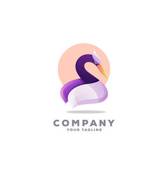 Awesome gradient swan logo design vector