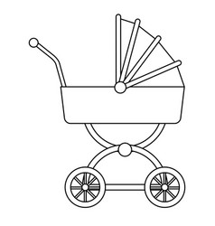 Baby carriage wheel decoration outline vector