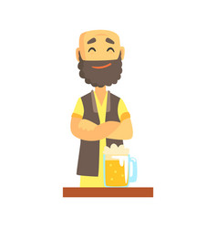 Bald bearded bartender character standing at the vector