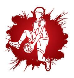 Basketball male player action cartoon vector