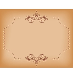 Beige old card with brown tracery vector