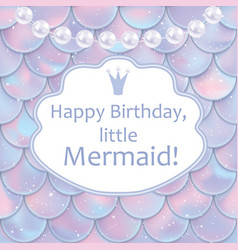 Birthday card for little girl holographic fish or vector