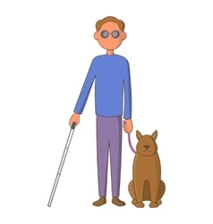Blind man with guide dog icon cartoon style vector