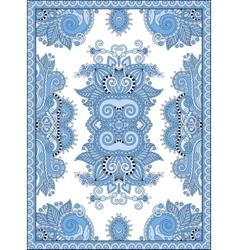 blue colour ukrainian floral carpet design for vector image
