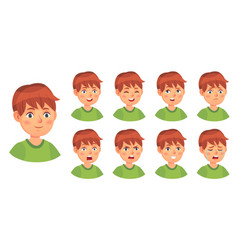 Boy emotions set happy cry and angry vector