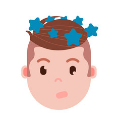 Boy head emoji personage icon with facial emotions vector
