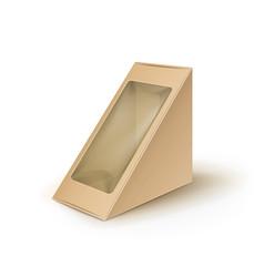 Brown blank cardboard triangle take away vector