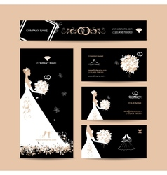 Business cards design weddign concept vector