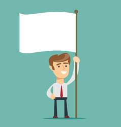 businessman holds white flag of surrender hand vector image