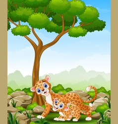 Cartoon mother leopard and cub leopard in the jung vector
