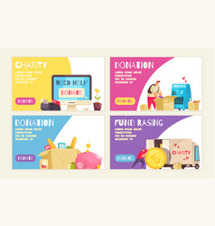 charity horizontal banners set vector image