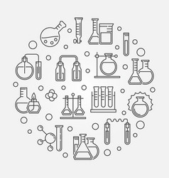 Chemical glassware round concept outline vector