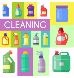 Cleaning products poster household bottle plastic vector