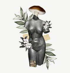 Collage vintage feminine antique mixed media art vector