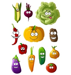 Colorful vegetables characters with happy smiles vector image