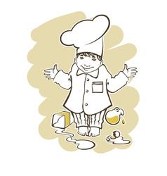 cooking boy cartoon vector image