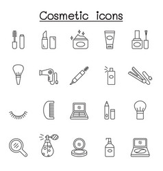 Cosmetic icons set in thin line style vector
