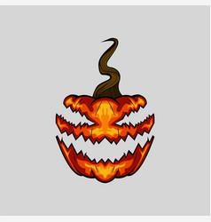 creepy face halloween pumpkin on white background vector image