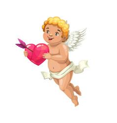 Cupid angel with heart and love arrow vector