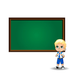 Cute little blonde school boy with big green eyes vector