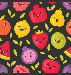 Cute smiling fruits seamless pattern vector