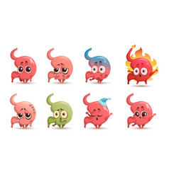 Cute stomach character with different emotions vector