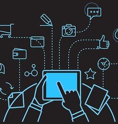 Digital marketing concept via modern digital gadge vector