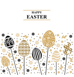 Easter card with decorative card on sticks vector