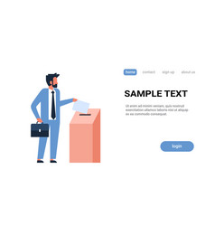 Election day concept businessman voter putting vector