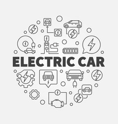 Electric car round in thin vector