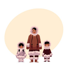 Eskimo inuit woman with two kids in warm winter vector