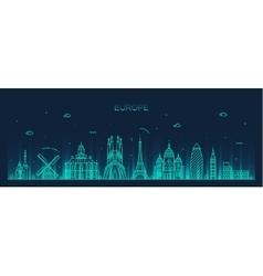 Europe skyline detailed silhouette line art style vector image