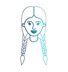 Female face with braided hair in degraded blue vector